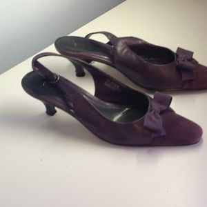 Size 9 1/2 purple and suede sling back heels